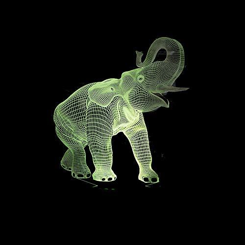 Licht des Tages 7 des Elefanten 3d bunte Note führte Lampen-Stereobildschirm-visuelle Geschenke...