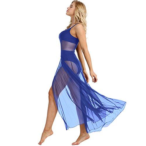 MSemis Damen Ballettkleid Latein Tanzkleid mit Asymmetrisch Rock Tanz Body Ballett Trikot Modern Lyrisch Tanz-Kostüm Leotards Tüllkleid Blau - Lyrische Tanz Kostüm Blau