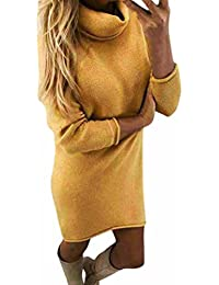 Pulli Kleid Damen, Winter Mode Frauen Fester Rollkragen Strickjacken Langes Beiläufiges Langes Hülsen Pullover Kleid Sunday