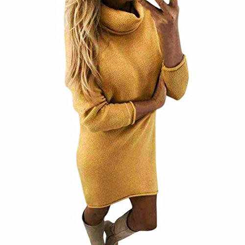 Pulli Kleid Damen, Winter Mode Frauen Fester Rollkragen Strickjacken Langes Beiläufiges Langes Hülsen Pullover Kleid Sunday (Gelb, L) (Plus Size Lingerie Länge)