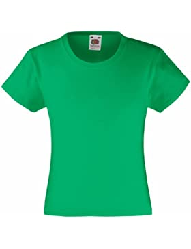 Fruit Of The Loom - Maglietta 100% Cotone - Bambina (5-6 anni) (Verde kelly)