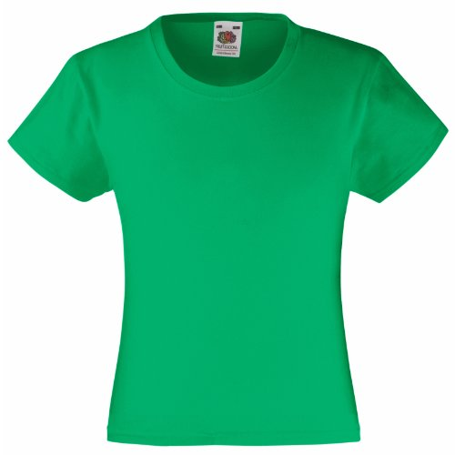 Fruit of the Loom Mädchen T-Shirt Valueweight, Green (Kelly Green), 152 (Kelly Kleider Green)