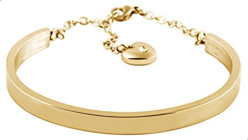 Brillibrum ID Armreif Mit Namensgravur Armband Aus Edelstahl In Gold Mit Herz Schmuck-Stein Geschenkidee (Modell 4)