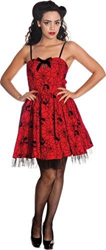 Hell Bunny Damen Mary Jane Spiderweb Gothic Petticoat Kleid (XS, Kirschrot mit Schwarz)