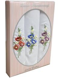 3 mouchoirs femme brodure colorée 100% coton