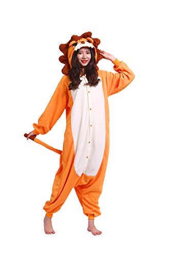 YUWELL Animal kigurumi Cosplay Onesie Costume Adult Pyjamas Fancy Dress Pyjamas Halloween, Löwe L (Height:170-180cm) (Löwe Frauen Halloween Kostüm)