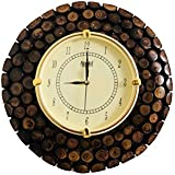 Hindustani Saudagar Stylish Wooden Round Shape Hanging Wall Clock Antique Bamboo Finish - 12 Inch Dia With Wood (Designer Vintage Wall Clock), A Perfect Gift For Any Occasion.