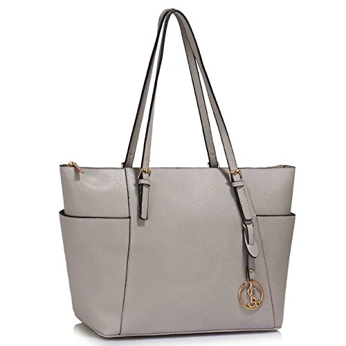 Womens Handbags Ladies Large Tote Bag Designer Faux Leather Celebrity Style New (Grey)