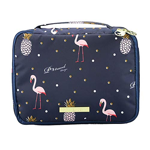 Kosmetiktasche Damen Make Up Etui/Pinsel Tasche für Handtasche Tragbare Reise Aufbewahrungstasche Toiletry Organizer Kosmetikbeutel mit Make up Pinsel Organizer (Flamingo-B)