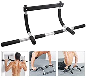 Coroid Home Gym Pull up Bars for Home | Push up bar | sit ups Equipment | dips Stands with Top Pulley Solid Fitness Gym Accessories (Color- Black-Black) (Black)