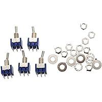 TOOGOO(R) 5pzs Mini Interruptor de palanca miniatura ENCENDIDO -APAGADO - ENCENDIDO 2P2T DPDT de 3 posiciones