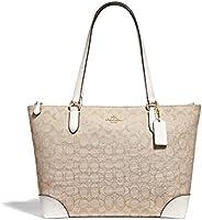 COACH F29958 Signature Jacquard Zip Tote Bag Purse