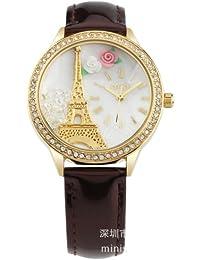 ufengke® paris rhinestonerand kinder armbanduhren-braunes lederband goldturm eiffel thema