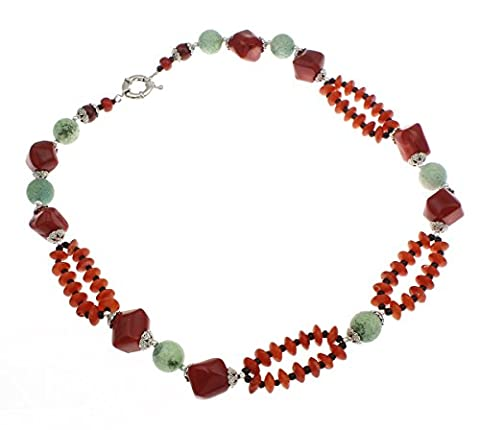 TreasureBay FAB Natural Red and Pink Coral Necklace Highlighted with Green Sponge Coral Length: 50cm weight: 85grams - Presented in a Gift Box