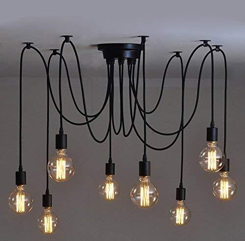 BMY Deckenpendelleuchten Kreative Antike Klassische Edison Lampe Ajustable DIY Deckenleuchte Licht Retro Acht Köpfe Kronleuchter Anhänger Industrielle Speisesaal Schlafzimmer Hotel Dekoration Lichter - Acht Licht-anhänger Kronleuchter