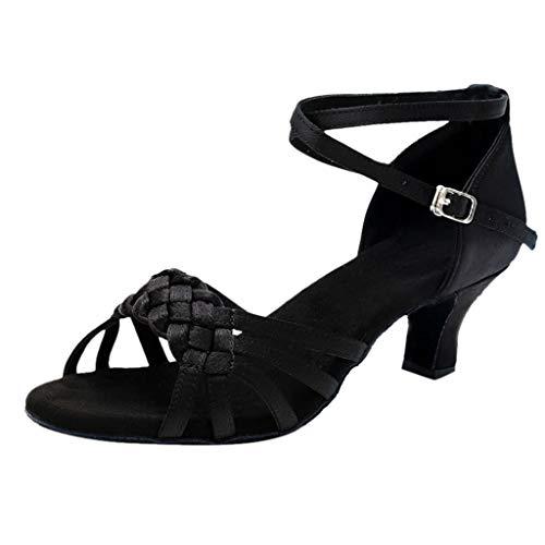 Binggong Damen Tanzschuhe Sandalen Heel Super-Satin Latein Abendschuhe Peep Toe Salsa Tango Dance Schuhe Party Sandalen