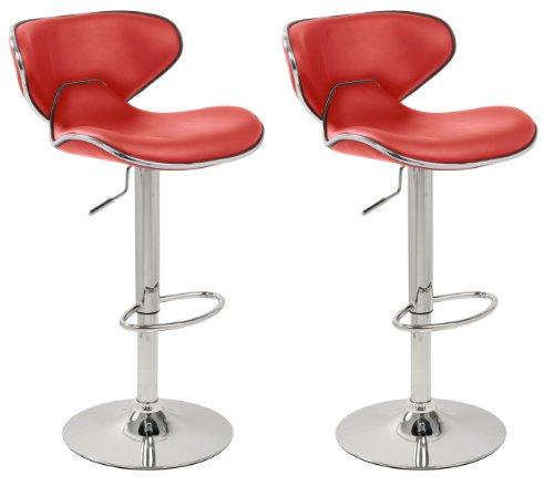 Set Of 2 Red Amp Chrome Bahama Kitchen Bar Stools Pair