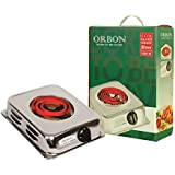 ORBON 1000 Watt Rectangular Silver Chrome G Coil Stove Hot Plate Induction Cooktop/Induction Cookers/Electric Cooking Heater/Induction Radient Cooktop ( MADE IN INDIA )( HUGE DIWALI DISCOUNT & FREE SHIPPING )