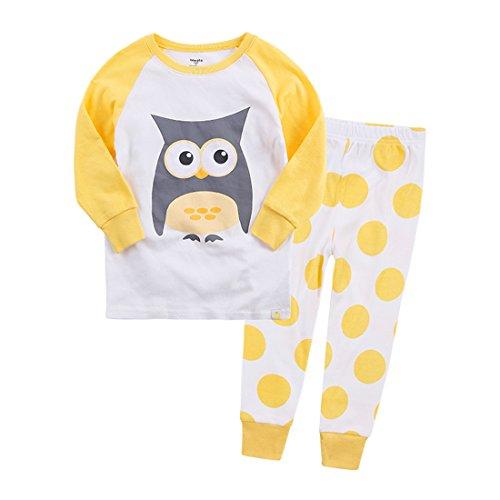 GWELL Eule Kinder Schlafanzug Langarm Zweiteiliger Set Pyjama aus Baumwolle für Jungen Mädchen Herbst & Winter Gelb 110/L (Langarm-pyjamas Gelb,)