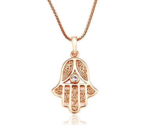 luxus Hand der Fatima Hamsa Kette Gold 18K echt vergoldet Damen-Gold-Schmuck Strass Callissi