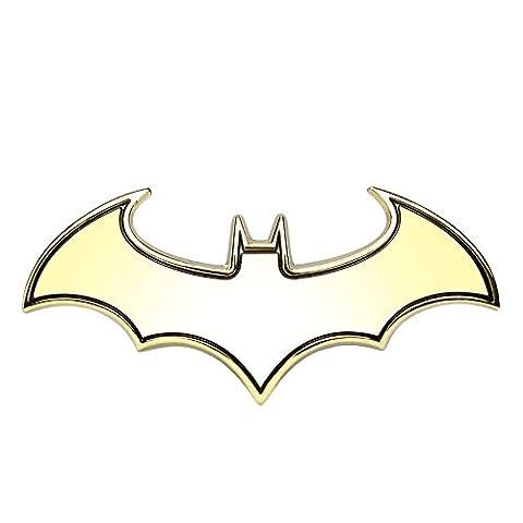 SKS Distribution® 3D Gold Edelstahl Fledermaus Batman Hohe Qualität Auto Emblem Aufkleber Badge.