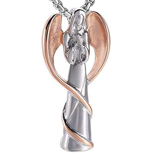 Asche Kostüm - J.Memi.Men Engel Halskette Gold Edelstahl Schöne Rose Gold Engel Anhänger mit Twinkling Asche Geburtstagsgeschenk für Frauen Mädchen,D