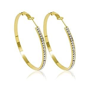 Inscintille Cerchi di luce Orecchini a cerchio dorati con strass - 6 cm