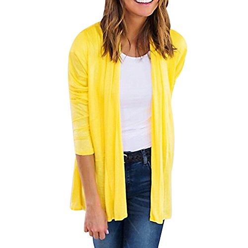 Vovotrade Damen Einfache Reinheit Langarm Strickjacke (Size:XL, Gelb)