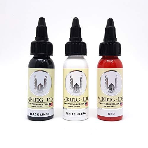 Tattoo Farbe Ink Kit Black Liner & White Ultra & Red 1oz (30ml) VIKING INK USA TINTE FÜR TÄTOWIERUNG vegan