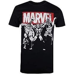 Marvel Trio Heroes Camiseta, Negro (Black Blk), Talla del Fabricante: Medium para Hombre