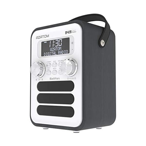 Blackfriars Retro DAB/DAB+ Digital FM Portable Radio/Alarm Clock/Real Wood Effect Finish/Mains Powered/Rechargable…