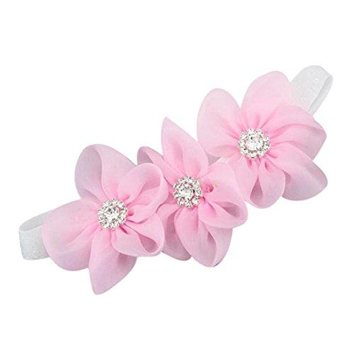 Tefamore Rhinestone Headband Hairband Flores Bandas Niños Cabello Accesorios Niñas (Tamaño: 13 * 6 (0 meses a 5 años), Rosado)