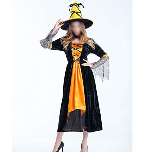 ZHFEL Halloween Hexe Karnevalsnacht Kleid, Rollenspiel Kostüm Bühne Leistung Kostüm Hut Teufel Maskerade Zum Erwachsener Frauen-Orange (Bezaubernd Hexe Für Erwachsene Kostüm)