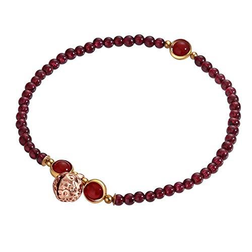 Beydodo Bead-Kette Fußschmuck Damen Fußketten Boho Granatapfel Steine mit Kugel Strandkette Fussketten Rot für Frauen