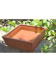 Tansa Earthen Pot Terracotta Bird Bath, Earth Brown (9X9-Inch)