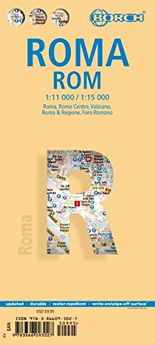 Roma, plano callejero plastificado. Escala 1:11.000/1:15.000. Borch. (Borch Map) por VV.AA.