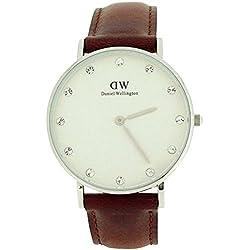 Daniel Wellington Damen-Armbanduhr 34mm Armband Leder Braun Quarz Zifferblatt Weiß Analog 0960DW