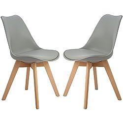 H.J WeDoo Lot de 2 chaises de Salle à Manger scandinaves, Chaises Rétro Tulip Bois de hêtre Massif - Gris