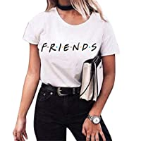 CRYYU Womens Casual Letter Print Short Sleeve Summer Crewneck Blouse T-Shirt Top 3 3XS