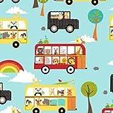 Rainbow Tier Stoff–Rainbow Animal Bus