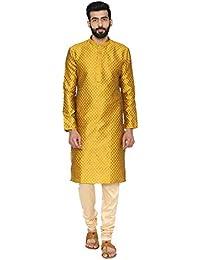 Manyavar Men's Regular Fit Kurta & Churidar Set (S952808)