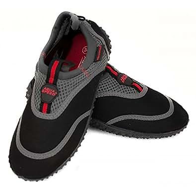 AQUA-SPEED Watershoe / Surfing Shoe / Bathing Shoe (black/grey/red, 35)