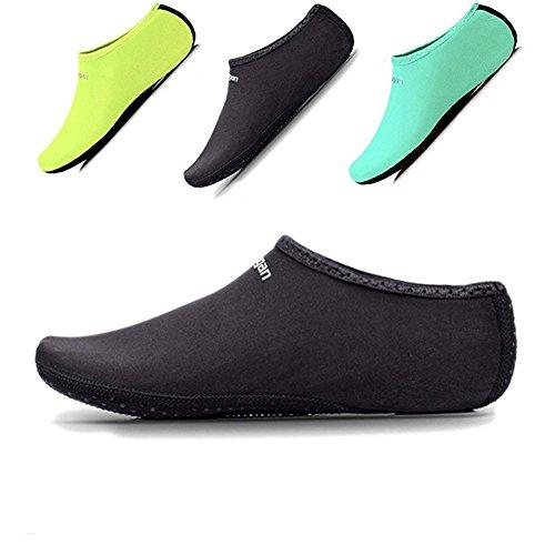 leyball Socken Damen Herren Kinder Sand Socken Schuhe Barefoot Quick Dry Aqua Socken für Tauchen Schwimmen Surfen Yoga Laufen, Schwarz, XL: W 7-9/ M 6-8 ()