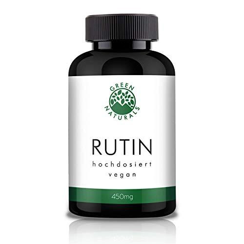 GREEN NATURALS Premium Rutin - 120 hochdosierte Kapseln á 450mg aus deutscher Herstellung - 100% Vegan & Ohne Zusätze - Vorrat für 4 Monate. Bonus Venen Ratgeber (eBook)
