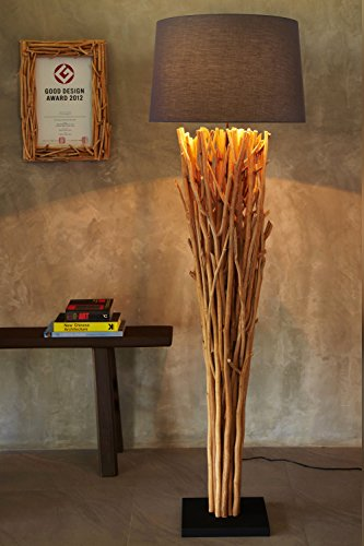 Hochwertige Treibholz Standlampe Elementaire Naturholz Natur rustikal Handarbeit Höhe 175 cm XL NEU | Unikat Holz-Stehlampe| Der Eye-Catcher für Wohnzimmer Schlafzimmer Wintergarten -