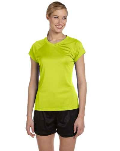 Champion Damen V-Neck Tee Essential Double Dry Grün (Safety Green)
