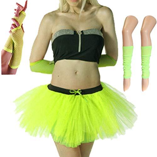 Islander Fashions Damen 80er Jahre Kost�m Neon 3-Schicht Tutu Rock Set Beinlinge Netzhandschuhe Set Gelb One Size (Schwarz Und Tutu Gelb)