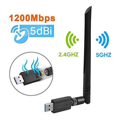 pter 1200M WiFi Dongle High Speed 802.11ac5 dBi Dual Band 2,4/5 GHz Wireless Netzwerk Adapter für PC/Desktop/Tablet/Laptop kompatibel mit Windows, Mac OS X ()