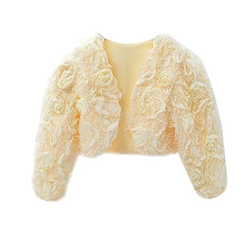 Icegrey Mädchen Gemütlich 3D Blumen Kleid Mantel Blumenmädchen Bolero Shrug Zubehör Prinzessin Cape Beige 110