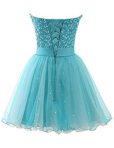 Sarahbridal Damen Tüll Abendkleider Kurz Herzenform Abschlusskleider Ballkleid mit Paillette SSD032 Blau-101